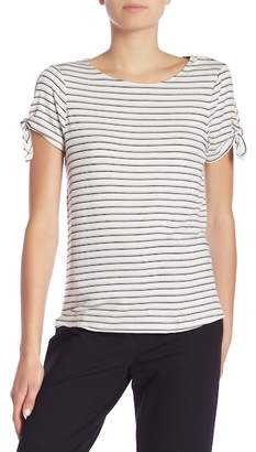 Bobeau Striped Crew Neck Tie Sleeve Tee