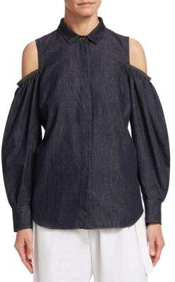 Brunello Cucinelli Chambray Cold-Shoulder Blouse