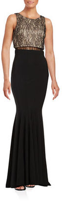 Betsy & Adam Lace Popover Trumpet Gown $239 thestylecure.com