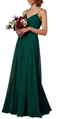 MenaliaDress Long Chiffon Spaghetti Straps V Neck Bridesmaid Dress M097LF US