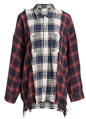 R 13 Women's Two-Tone Plaid Combo Workshirt
