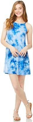 Juniors' Wallflower Tie-Dye Halter Tank Dress