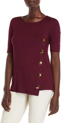 Cable & Gauge Button Side Half Sleeve Tee