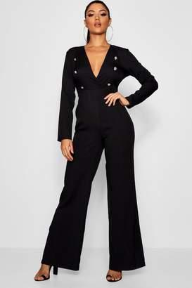 boohoo Tuxedo Style Plunge Jumpsuit