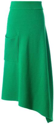 Tibi Merino Rib Origami Wrap Skirt in Green