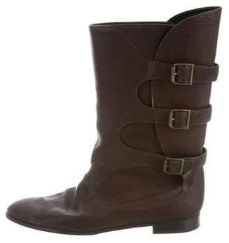 Manolo Blahnik Buckle Mid-Calf Boots