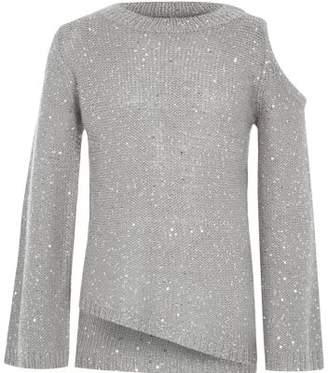 River Island Girls grey sequin cold shoulder sweater
