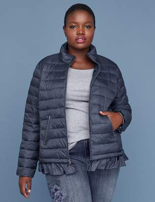 Lane Bryant Peplum Packable Puffer Jacket with Thermoplume Technology - Night Sky