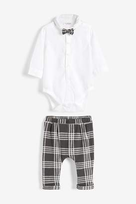 Next Boys Grey Check Three Piece Smart Shirt Bodysuit, Bow Tie And Trouser Set (0mths-2yrs) - Grey
