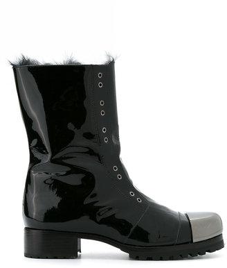 Andrea Bogosian varnished combat boots