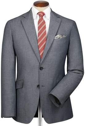 Slim Fit Black and Blue Semi-Plain Stretch Cotton Cotton Blazer Size 38 by Charles Tyrwhitt