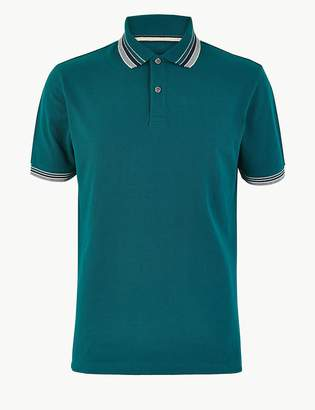 Marks and Spencer Pure Cotton Tipped Collar Polo Shirt