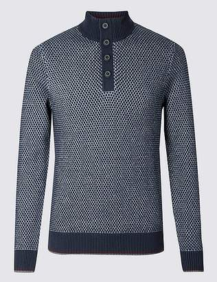 Marks and Spencer Half Zip Button Neck Jumper