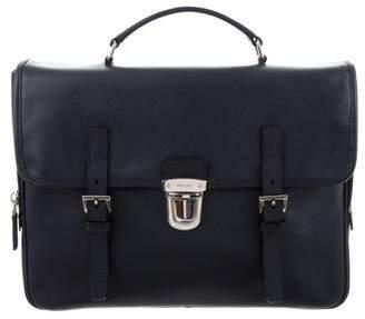 Prada Saffiano Push-Lock Briefcase