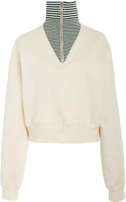 Cédric Charlier Striped Zip-Detailed Cotton Sweater