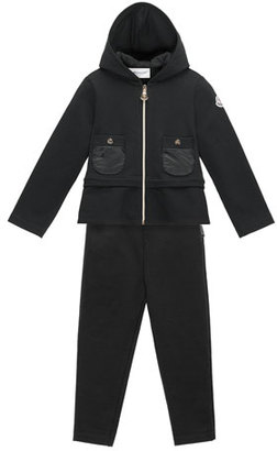 Moncler Hooded Two-Piece Track Suit, Black, Size 4-6 $265 thestylecure.com