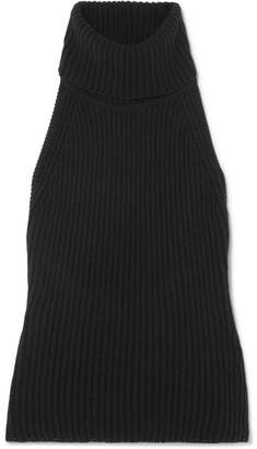 Antonio Berardi Ribbed Wool And Cashmere-blend Turtleneck Top - Black