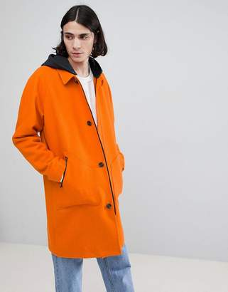 Asos DESIGN wool mix trench with jersey hood in orange