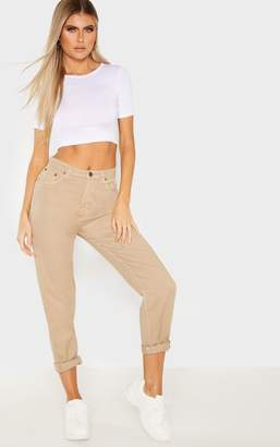 PrettyLittleThing Tall Stone Cropped Turn Up Mom Jeans