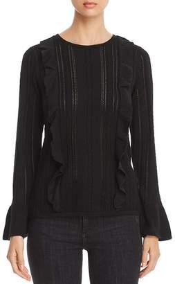 Design History Ruffled Pointelle Sweater