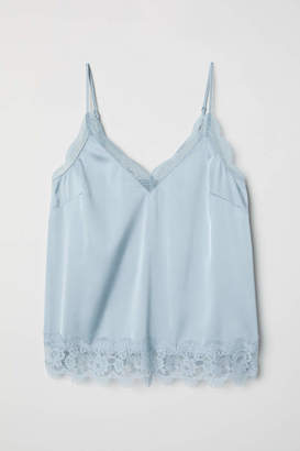 H&M Satin Camisole Top - Light gray-blue - Women