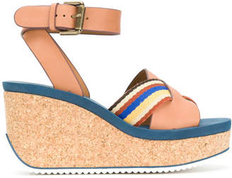 See by Chloe striped crossover wedge sandals