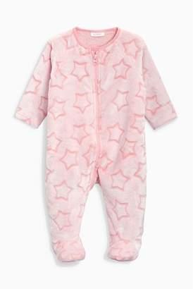 Next Girls Pink Star Fleece Sleepsuit (0mths-3yrs)