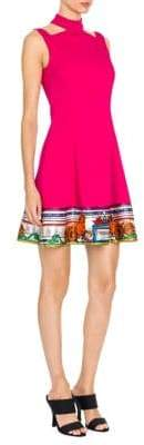 Versace Cutout Temple Print Trim Dress