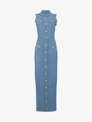 Balmain Sleeveless Denim Maxi Dress