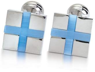Square Mile Men's Rhodium Plated Base Metal with Blue Cats Eye Stone Cufflinks
