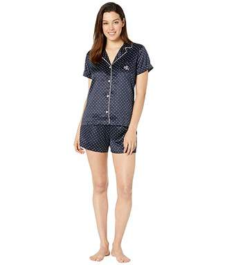 Lauren Ralph Lauren Short Sleeve Roll Cuff Notch Collar Boxer Pajama Set