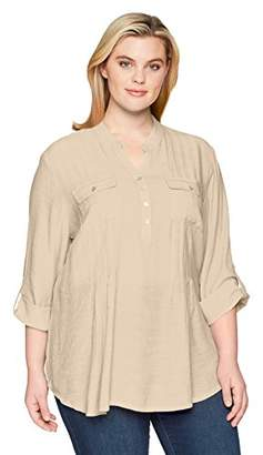 Ruby Rd. Women's Plus-Size Silky Gauze Pleated Top Button-Front