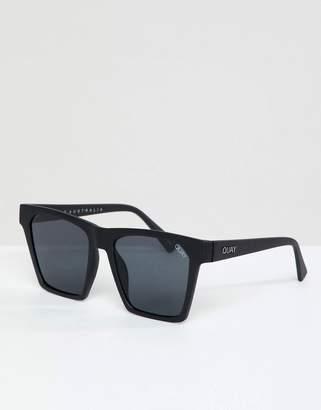 Quay X Missguided Alright Square Sunglasses In Black