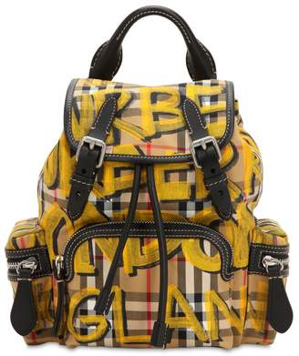 Burberry Small Rucksack Graffiti Canvas Backpack