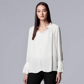 Vera Wang Women's Simply Vera Pleated Peasant Top