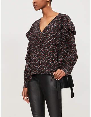 The Kooples Ruffle-trim floral-print crepe blouse