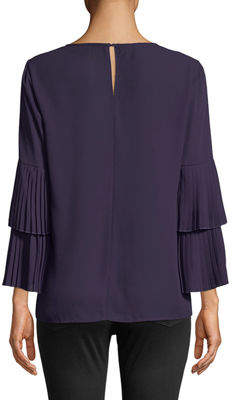 Carmen Marc Valvo Carmen By Tiered Pleated Bell-Sleeve Blouse