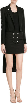 Anthony Vaccarello Button Front Cotton Mini Skirt
