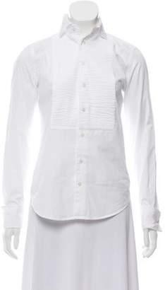 Ralph Lauren Black Label Plissé Button-Up Top
