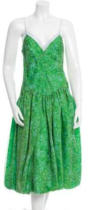 Vera Wang Floral Print Sheer-Trimmed Dress $100 thestylecure.com