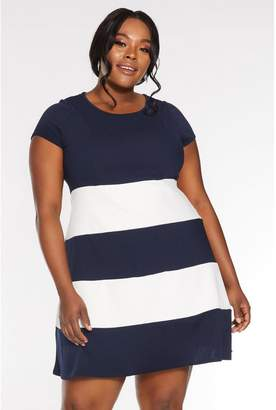 Quiz Curve Navy And Cream Contrast Stripe Skater Dress