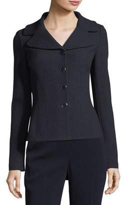 St. John Collection Micro Boucle Knit Fitted Jacket, Navy $1,295 thestylecure.com