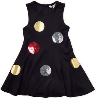 Petit Lem Girls 4-6x) Black Polka Dot Flared Dress