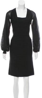 Herve Leger Long Sleeve Knee-Length Dress