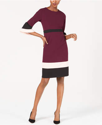 NY Collection Petite Colorblocked Bell-Sleeve Dress