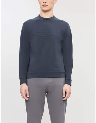 Emporio Armani Logo-embossed cotton-jersey jumper