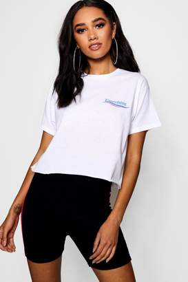 boohoo Petite Everything Will Be Fine Cropped Tee