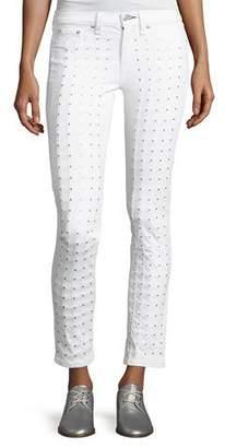 Rag & Bone Studded Skinny Jeans, Blanc