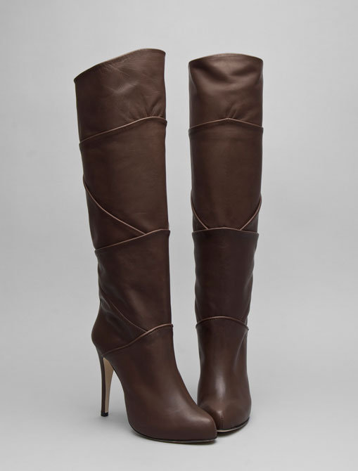 Jinny Kim Iris Twisted Leather Boot in Cognac