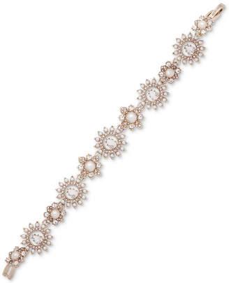 Marchesa Gold-Tone Crystal & Stone Flower Flex Bracelet